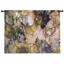 The Meeting By Nicole Etienne - Woven Tapestry Wall Art Hanging - Asian Koi Lucky Water Lilies Fish Carp Watercolor Dragonfly Themed Artwork - 100% Cotton - USA 35X53 Wall Tapestry