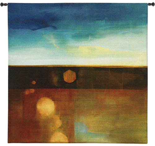 Refract Release by Heather Ross | Woven Tapestry Wall Art Hanging | Abstract Landscape in Subdued Colors | 100% Cotton USA Size 60x60 Wall Tapestry