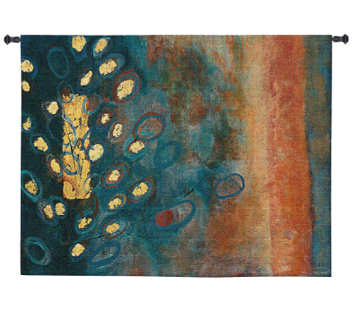 The Temple Tree by Natalia Morley Russell   Woven Tapestry Wall Art Hanging   Abstract Yellow Tree on Earthy Background   100% Cotton USA Size 66x33 Wall Tapestry