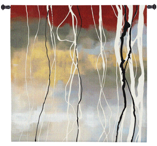 Silver Birch I by Laurie Maitland | Woven Tapestry Wall Art Hanging | Abstract Subtle Forest Landscape | 100% Cotton USA Size 50x50 Wall Tapestry