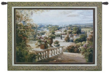 Paradiso | Woven Tapestry Wall Art Hanging | Lush Terrace with Heavenly Village View | 100% Cotton USA Size 53x37 Wall Tapestry