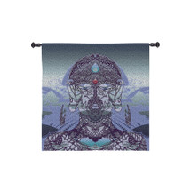Diga by Jordan De La Sierra | Woven Tapestry Wall Art Hanging | Hindu Style Tantric Mask - Hemispheric Dance in a Poly-Tantric Dome | 100% Cotton USA Size 53x53 Wall Tapestry