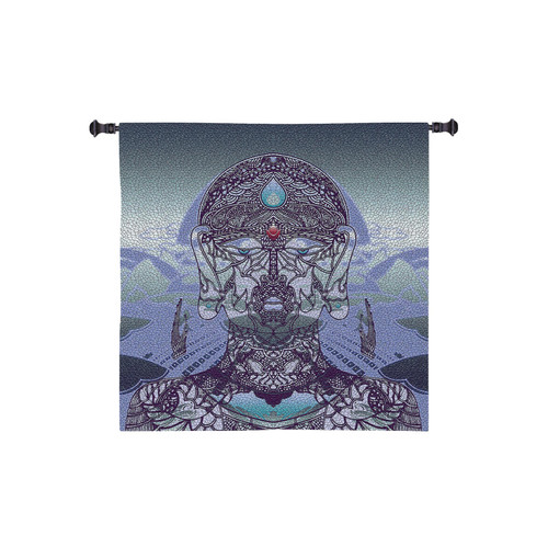 Diga By Jordan De La Sierra | Woven Tapestry Wall Art Hanging | Hindu Style Tantric Mask A Hemispheric Dance In A Poly|Tantric Dome | 100% Cotton USA Wall Tapestry
