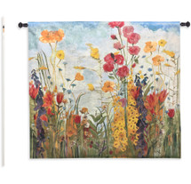 Laughter by Jill Martin | Woven Tapestry Wall Art Hanging | Bright Blooming Floral Garden Scene | 100% Cotton USA Size 53x53 Wall Tapestry