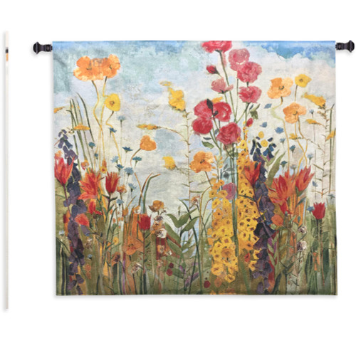 Laughter by Jill Martin | Woven Tapestry Wall Art Hanging | Bright Blooming Floral Garden Scene | 100% Cotton USA Size 45x45 Wall Tapestry