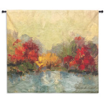 Fall Riverside I | Woven Tapestry Wall Art Hanging |  | 100% Cotton USA Size 63x60 Wall Tapestry