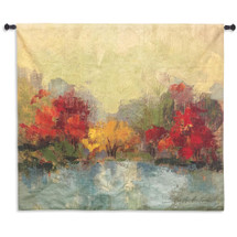 Fall Riverside I | Woven Tapestry Wall Art Hanging |  | 100% Cotton USA Size 45x45 Wall Tapestry