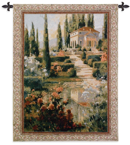 Tuscany Estate   Woven Tapestry Wall Art Hanging   Italian Villa Country Garden   100% Cotton USA Size 53x42 Wall Tapestry