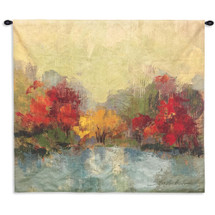 Fall Riverside I | Woven Tapestry Wall Art Hanging |  | 100% Cotton USA Size 31x31 Wall Tapestry