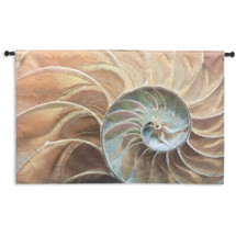 Nautilus | Woven Tapestry Wall Art Hanging | Nautical Pair of Spiraling Shells | 100% Cotton USA Size 60x40 Wall Tapestry