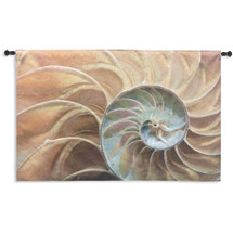 Nautilus | Woven Tapestry Wall Art Hanging | Nautical Pair of Spiraling Shells | 100% Cotton USA Size 50x33 Wall Tapestry