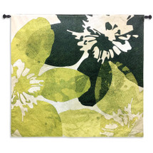 Bloomer Tile VI by James Burghardt | Woven Tapestry Wall Art Hanging | Crisp Bold Flowers in Green and Yellow | 100% Cotton USA Size 44x44 Wall Tapestry