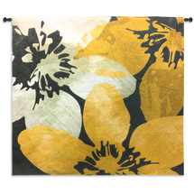 Bloomer Tile IX by James Burghardt | Woven Tapestry Wall Art Hanging | Crisp Bold Flowers in Yellow and White | 100% Cotton USA Size 63x60 Wall Tapestry