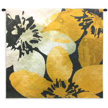 Bloomer Tile IX by James Burghardt | Woven Tapestry Wall Art Hanging | Crisp Bold Flowers in Yellow and White | 100% Cotton USA Size 30x30 Wall Tapestry