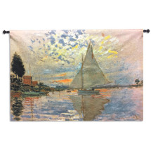 Sailboat at Le Petit-Gennevilliers by Claude Monet | Woven Tapestry Wall Art Hanging | Serene Sunset Harbor Impressionist Masterpiece | 100% Cotton USA Size 63x45 Wall Tapestry
