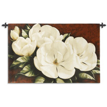 Magnolia Crimson Cotton By Igor Levashov | Woven Tapestry Wall Art Hanging | White Magnolias With Warm Red Background Floral Theme | 100% Cotton USA Size 33X53 Wall Tapestry