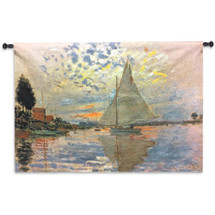 Sailboat at Le Petit-Gennevilliers by Claude Monet | Woven Tapestry Wall Art Hanging | Serene Sunset Harbor Impressionist Masterpiece | 100% Cotton USA Size 43x31 Wall Tapestry