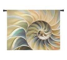 Nautilus Blue | Woven Tapestry Wall Art Hanging | Nautical Shell Fibonacci Spiral Pattern | 100% Cotton USA Size 53x33 Wall Tapestry