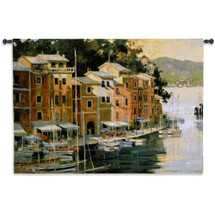 Portofino View - Woven Tapestry Wall Art Hanging - Italian Riviera Fishing Village With Waterfront Shoreline And Floral Landscape - 100% Cotton - USA 42X53 Wall Tapestry