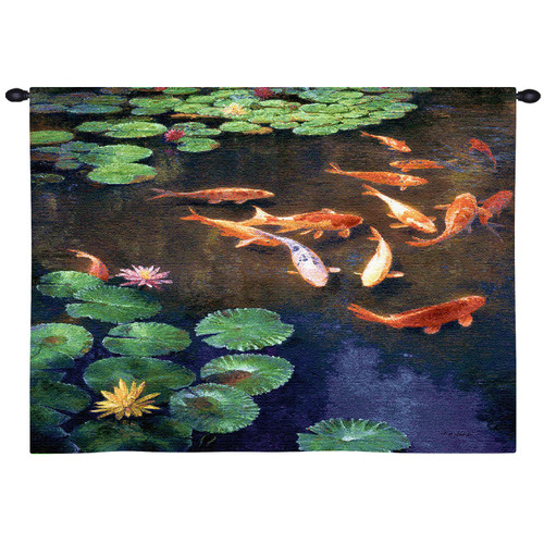 Inclinations Extra By Curt Walters   Woven Tapestry Wall Art Hanging   Lucky Koi Fish Swim In A Dusk Darkened Asian Lily Pond   100% Cotton USA 32X32 Wall Tapestry