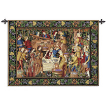 Les Vendanges Grape Harvest | Woven Tapestry Wall Art Hanging | French Belgian Style Winery Decor | 100% Cotton USA Size 75x53 Wall Tapestry