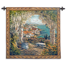Seaview Hideaway by Yurie Lee | Woven Tapestry Wall Art Hanging | Mediterranean Garden Seaside View | 100% Cotton USA Size 53x53 Wall Tapestry