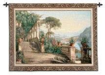 Lodge at Lake Como by Carl Frederik Aagaard | Woven Tapestry Wall Art Hanging | Italian Landscape Lakeside Scenery | 100% Cotton USA Size 76x53 Wall Tapestry