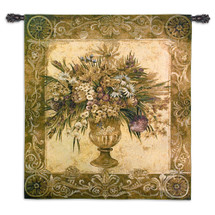 Tuscan Urn by Liz Jardine | Woven Tapestry Wall Art Hanging | Vase Flower Bouquet Warm Earthy Color Floral Theme | 100% Cotton USA Size 53x45 Wall Tapestry