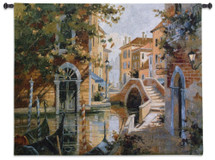 Venice Canal By Robert Pejman - Woven Tapestry Wall Art Hanging - Venetian Canals Romantic Reflection Water Flower Blooms Cityscape Gondola Themed Artwork - 100% Cotton - USA 42X53 Wall Tapestry