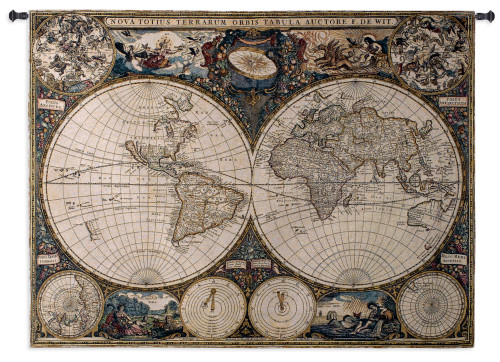 Old World Map by Frederik De Wit   Woven Tapestry Wall Art Hanging   Vintage Geographic with Antique Motifs   100% Cotton USA Size 53x38 Wall Tapestry