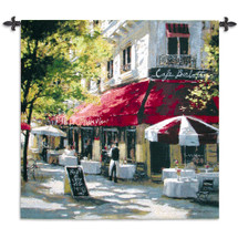 Cafe Franchetti by Brent Heighten   Woven Tapestry Wall Art Hanging   Parisian Street Scene   100% Cotton USA Size 53x53 Wall Tapestry