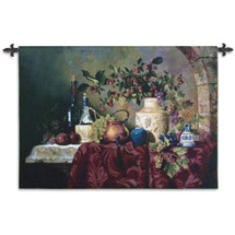 Tavola di Capri by Fran Di Giacomo | Woven Tapestry Wall Art Hanging | Classic Italian Still Life Feast | 100% Cotton USA Size 53x36 Wall Tapestry
