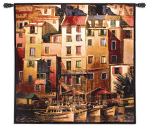Mediterranean Gold by Michelle O'Toole | Woven Tapestry Wall Art Hanging | Sunset Seaside Harbor with Sailboats | 100% Cotton USA Size 53x53 Wall Tapestry