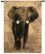African Voyage I by Gosia Gajewska | Woven Tapestry Wall Art Hanging | Elephant over African Continent in Earth Tones | 100% Cotton USA Size 53x38 Wall Tapestry
