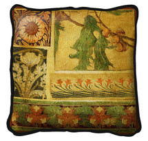 Fine Art Tapestries Arts and Crafts IV Textured Hand Finished Elegant Woven Throw Pillow Cover 100% Cotton Made in the USA Size 27 x 27 Pillow