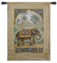 Old World Elephant II Trunk Up by Debra Swartzendruber | Woven Tapestry Wall Art Hanging | Regal Indian Elephant among Palms | 100% Cotton USA Size 52x36 Wall Tapestry