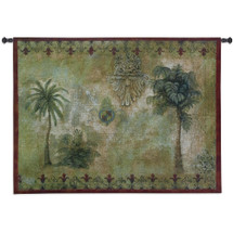 Masoala I by Jill O'Flannery | Woven Tapestry Wall Art Hanging | Tropical West Indies Palm Trees | 100% Cotton USA Size 53x38 Wall Tapestry