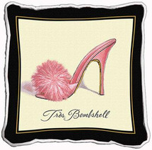 Fine Art Tapestries Tres Bombshell Textured Hand Finished Elegant Woven Throw Pillow Cover 100% Cotton Made in the USA Size 17x17 Pillow