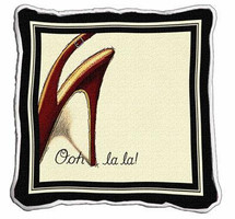 Fine Art Tapestries Ooh La La Textured Hand Finished Elegant Woven Throw Pillow Cover 100% Cotton Made in the USA Size 17x17 Pillow