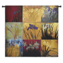 Iris Nine Patch II by Don Li-Leger | Woven Tapestry Wall Art Hanging | Abstract Asian Fusion Nature Panels | 100% Cotton USA Size 53x53 Wall Tapestry