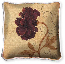 Poppy Fresco Textured Hand Finished Elegant Woven Throw Pillow Cover 100% Cotton Made in the USA Size 17x17 Pillow
