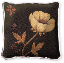 Peony Fresco Textured Hand Finished Elegant Woven Throw Pillow Cover 100% Cotton Made in the USA Size 17x17 Pillow