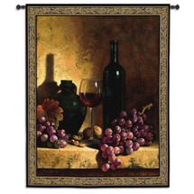 Wine Bottle with Grapes and Walnuts by Loran Speck | Woven Tapestry Wall Art Hanging | Vintage Wine Ensemble Still Life | 100% Cotton USA Size 59x53 Wall Tapestry