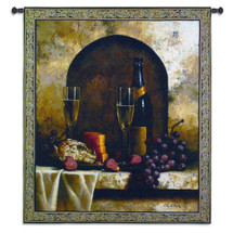 Date to Remember by Loran Speck | Woven Tapestry Wall Art Hanging | Wine with Grapes and Cheese Still Life | 100% Cotton USA Size 59x53 Wall Tapestry
