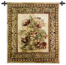 Porto Sienna by Liz Jardine | Woven Tapestry Wall Art Hanging | Decorative Urn with Floral Filigree | 100% Cotton USA Size 53x40 Wall Tapestry