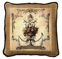 Summer Harvest Textured Hand Finished Elegant Woven Pillow By Fine Art Tapestries 100% Cotton Made in the USA Size 27 x 27 Pillow