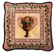Frutti D'Estate Textured Hand Finished Elegant Woven Throw Pillow Cover 100% Cotton Made in the USA Size 27 x 27 Pillow