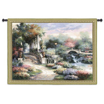 Classic Garden Retreat by James Lee   Woven Tapestry Wall Art Hanging   Scenic Flower Garden on Shimmering River Landscape   100% Cotton USA Size 53x42 Wall Tapestry
