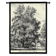 Black Poplar by Jacob George Strutt | Woven Tapestry Wall Art Hanging | Elaborate Black and White Tree at River Bridge | 100% Cotton USA Size 53x40 Wall Tapestry