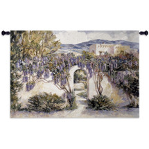 Wistful Wisteria | Woven Tapestry Wall Art Hanging | Fragrant Purple Foliage at Spanish Estate | 100% Cotton USA Size 53x34 Wall Tapestry